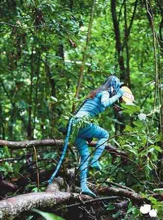 """""""阿凡达""""空降热带雨林 提醒游客勿乱扔垃圾"""