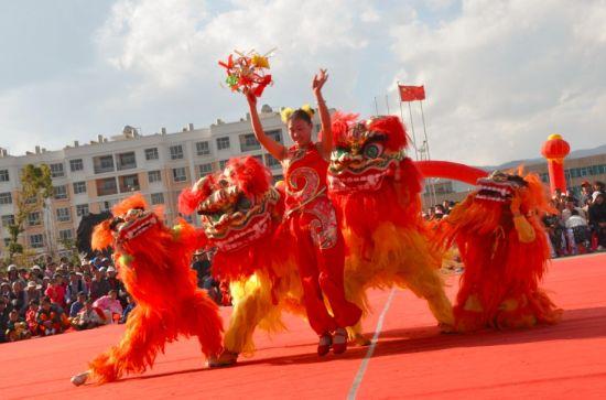 热烈的舞狮表演