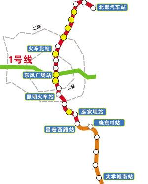 昆明地铁1 2号线首期北段预计明年上半年通车