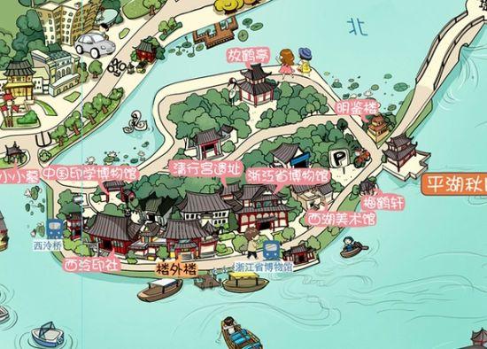 杭州旅游手绘地图_武汉旅游手绘地图