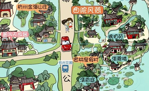杭州手绘地图卷起旅游热潮