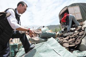 假茶叶在垃圾填埋场进行销毁。记者 杨艳辉 摄