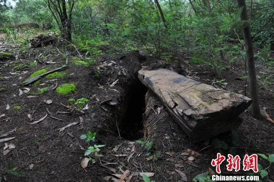 图为被开棺、毁棺的烈士坟冢。任东摄