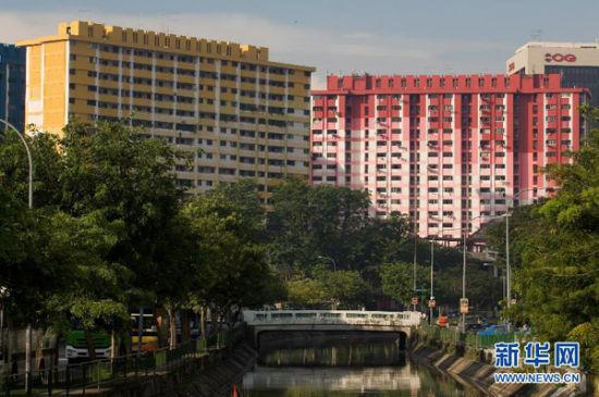 早晨的阳光照亮新加坡梧槽坊色彩鲜艳的组屋区。新华社发(邓智炜摄)